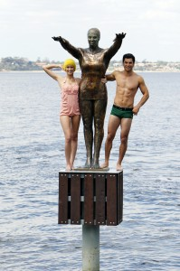 Swimmer statue in Perth