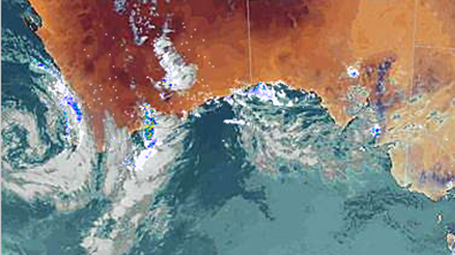 This radar image shows the south of Australia including a spectacular low over the south west