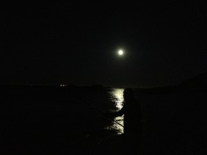 Dad fishing in the dark
