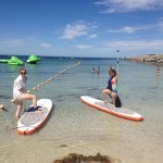 The girls go paddleboarding